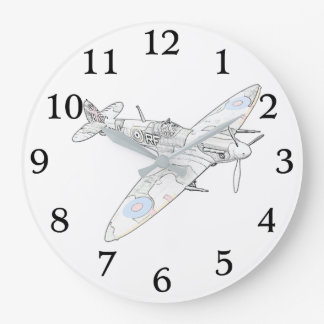 1936 WWII Spitfire Fighter Aircraft Large Clock