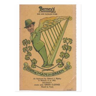1937 Bernie, The Man in Green Postcard