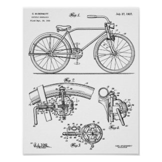 1937 Bicycle Generator Design Patent Art Print