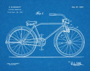Bicycle blueprint art framed artwork zazzle 1937 bicycle headlamp design patent art print malvernweather Image collections