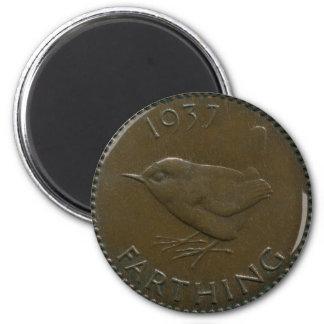 1937 British farthing magnet