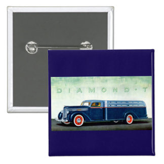 1937 Diamond T blue truck Pinback Button