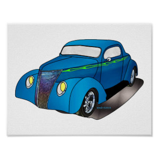 1937 Minotti Ford Coupe - Blue Poster