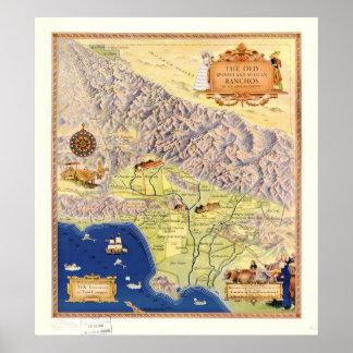 1937 ranchos del mapa del condado de Los Angeles C Impresiones