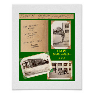 1937 UAW Sit-Down Strike Poster - Flint, Michigan
