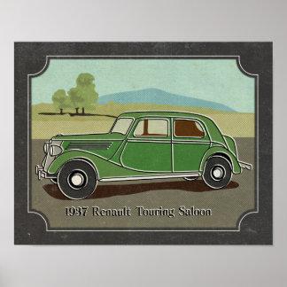 1937 Vintage Green Renault Touring Saloon Poster