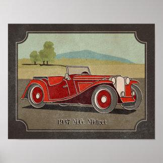 1937 Vintage Red M G Midget Poster