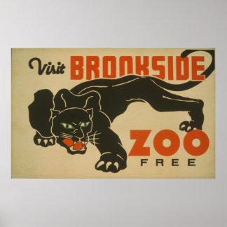 1937 Visit Brookside Zoo WPA Poster