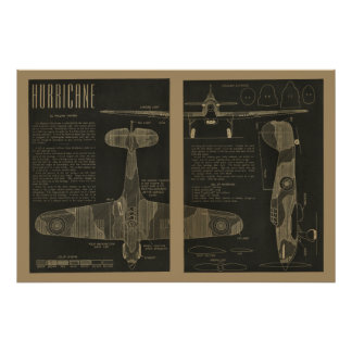 1938 Aviation Hurricane Airplane Design Art Print