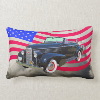 1938 Cadillac Lasalle And American Flag Pillow