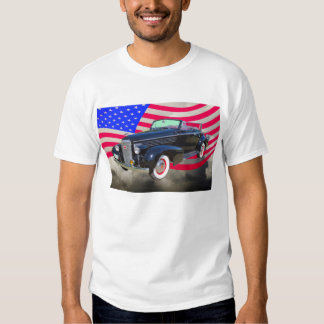 1938 Cadillac Lasalle And American Flag T-shirt