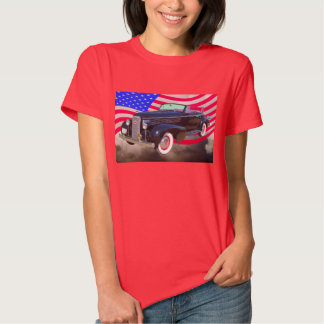 1938 Cadillac Lasalle And American Flag T Shirts