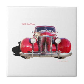"""1938 Cadillac """"red"""" Small Square Tile"""
