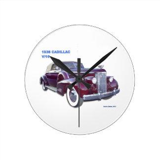 1938 CADILLAC V-16 ROUND WALLCLOCK