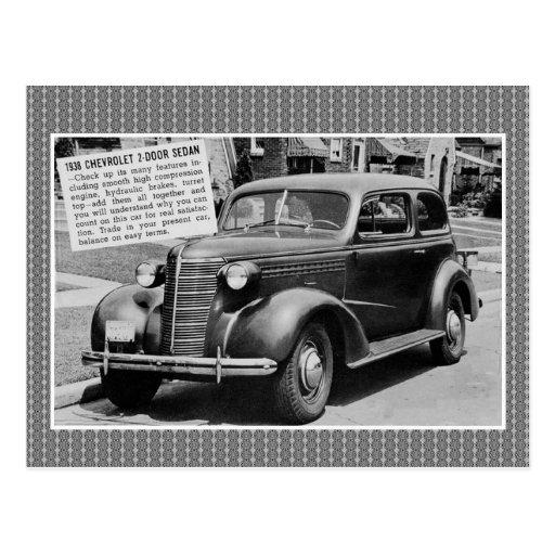 1938 chevrolet 2 door sedan classic car postcard zazzle for 1938 chevrolet 4 door sedan