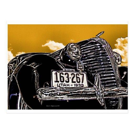 1938 Vintage Hudson Coupe Automobile Postcard
