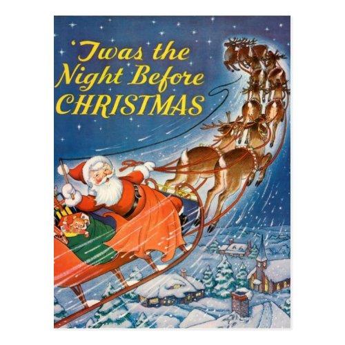 1938 Vintage Santa Claus Sleigh  Reindeer Flying Postcard