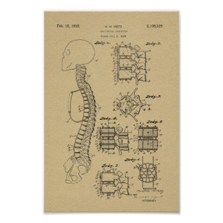 1938 Vintage Spine Model Patent Art Print
