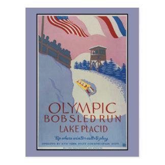 1938 Vintage winter sport Travel ad Lake Placid Postcard