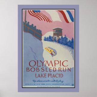 1938 Vintage winter sport Travel ad Lake Placid Poster