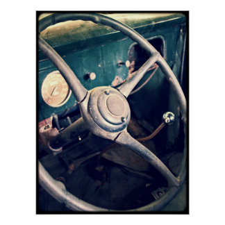 1939 Antique Classic Car Dashboard Poster