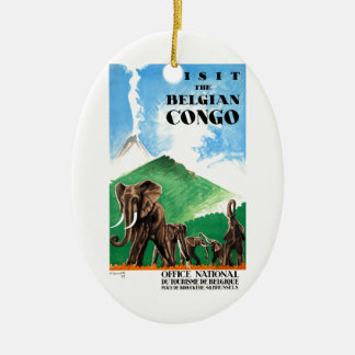 1939 Belgian Congo Elephants Travel Poster Ceramic Ornament