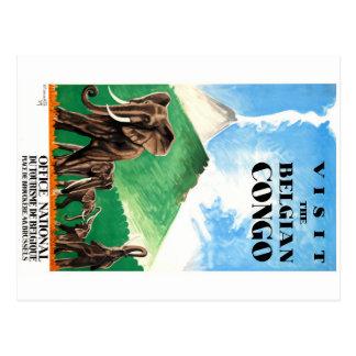 1939 Belgian Congo Elephants Travel Poster Postcard