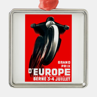 1939 European Grand Prix Motorcycle Racing Poster Metal Ornament