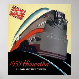 1939 HIAWATHA STREAMLINED TRAIN POSTER