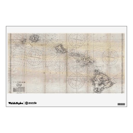 1939 Japanese Map of Hawaii Pearl Harbor Room Sticker