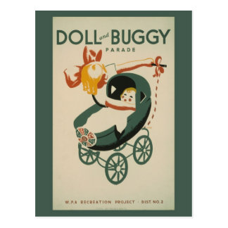 1939 vintage Doll and buggy parade Postcards