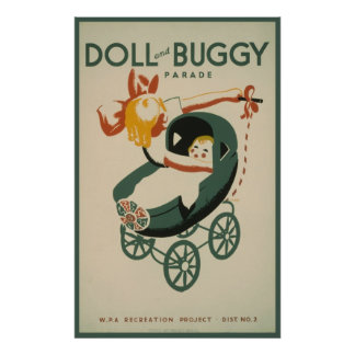 1939 vintage Doll and buggy parade Posters