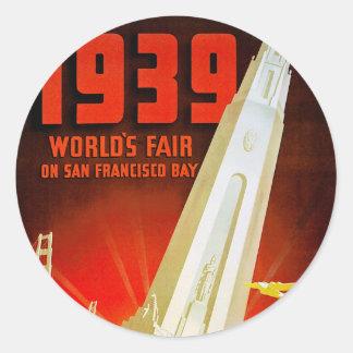 1939 World Fair San Francisco Classic Round Sticker