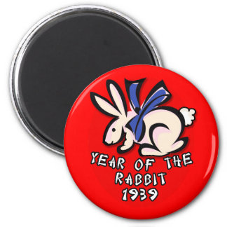 1939 Year of the Rabbit Apparel and Gifts 2 Inch Round Magnet