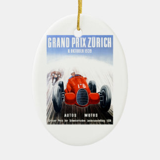 1939 Zurich Grand Prix Racing Poster Ceramic Ornament