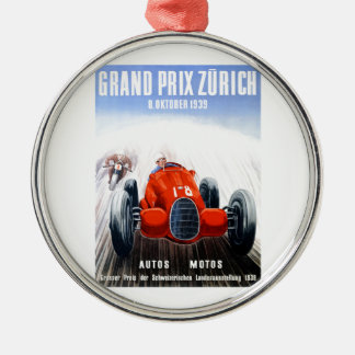 1939 Zurich Grand Prix Racing Poster Metal Ornament