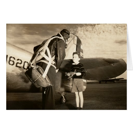 1940 American military pilot and young boy Card
