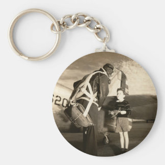 1940 American military pilot and young boy Keychain