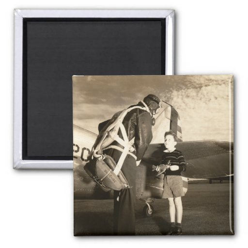1940 American military pilot and young boy Fridge Magnet