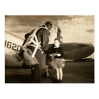 1940 American military pilot and young boy Postcard