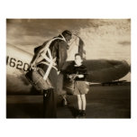 1940 American military pilot and young boy Posters