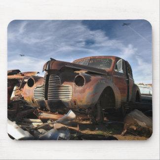 1940 Buick & F-86 Sabre overflight - junkyard art Mouse Pad