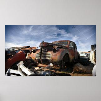 1940 Buick & F-86 Sabre overflight - junkyard art Poster