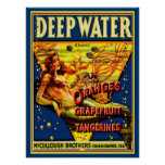 """1940 """"Deep Water"""" Fruit Crate  Ad -12x16 Poster"""