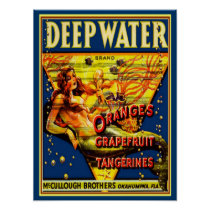 "1940 ""Deep Water"" Fruit Crate  Ad -12x16 Poster"