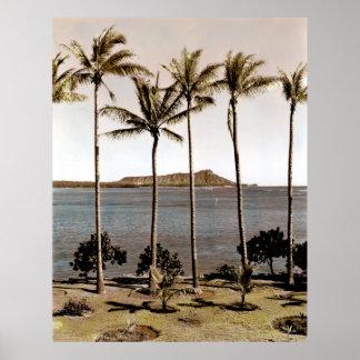 1940 Diamond Head Hawaii Poster