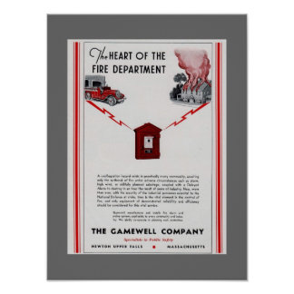 1940 Gamewell Fire Box advertisement Poster