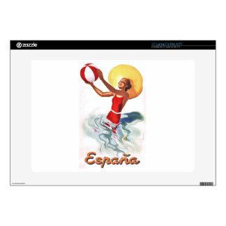 "1940 Spain Beach Travel Poster 15"" Laptop Skins"
