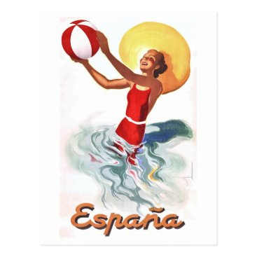 Beach Themed 1940 Spain Beach Travel Poster Postcard