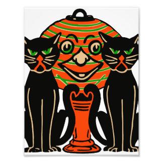 1940 Vintage Halloween Black Cats Photo Print